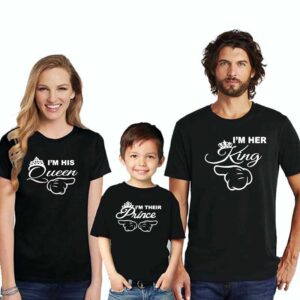 Family T-Shirts For 3 King Queen Prince