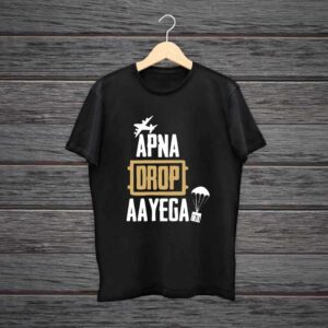 Man Printed Black Cotton T-shirt Apna Drop Aayega