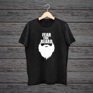 Man Printed Black Cotton T-shirt Fear The Beard