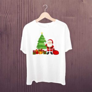 Christmas Tree T Shirt White Printed