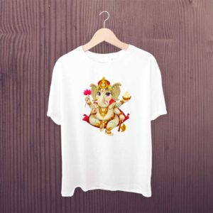 Ganesh Multicolor T Shirt White Polyester Dry Fit