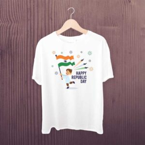India Republic Day T Shirt White Printed