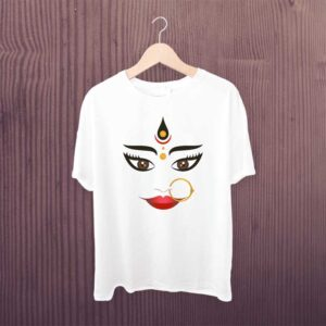 Maa Durga T Shirt White Polyester Dry Fit