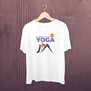Yoga Day T Shirt Girl White Printed