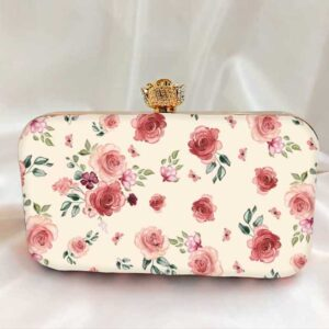 Diamond button rose Printed Clutch Bag