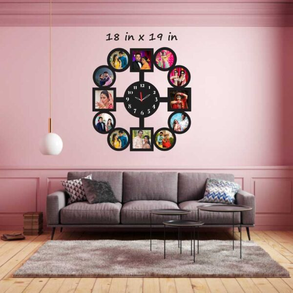 Round-Shape-11-Photos-Wooden-Frame-with-Clock-Wall