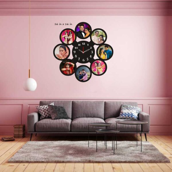 Round-Shape-8-Photos-Wooden-Frame-Wall