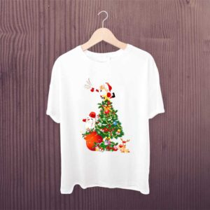 Christmas-Tree-Santa-Claus-T-Shirt-White-Printed