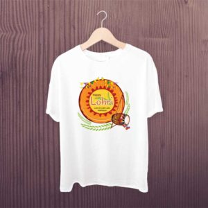 Happy Lohri Dhol White Printed T Shirt