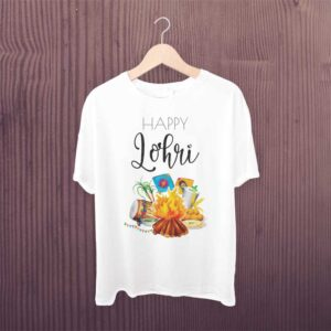Happy Lohri T Shirt White Printed