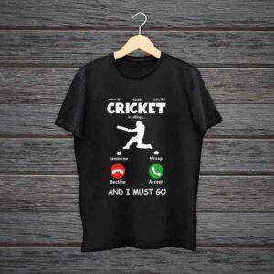 Cricket Is Calling Trending Black Cotton Tshirt