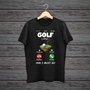 Golf Is Calling Trending Black Cotton Tshirt