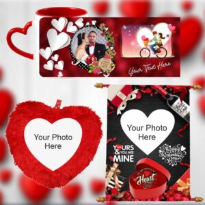 Valentine's Gifts Combo Pack Heart Pillow, Scroll, Mug Combo-4