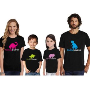 Mommy Brother Sister And Daddy Saurus Family Tshirt